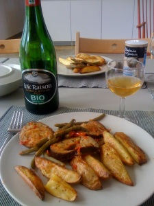 organic apple cider, roasted potatoes, provencal style eggplant and haricot verts. bon appetit!