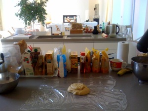 research and development 'lab' for organic gluten-free bakes..working on GF cinnamon rolls...