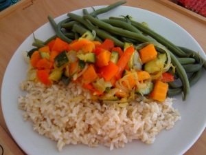 "brown rice and veggies! that's what strippers eat to stay thin in Showgirls (1995) with Elizabeth Berkley - you know that smarty-pants girl with big curly hair from ""Saved by the Bell""?"